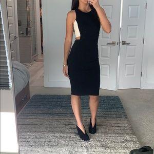 Zara midi black dress with peephole sides S